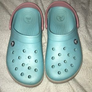 Blue and Pink Crocs